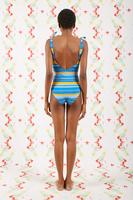 Blue and Saffron Striped Swimsuit  image
