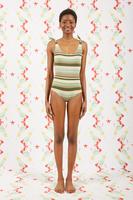 Mint and Khaki Striped Swimsuit  image