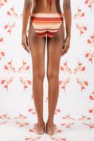 Red and Peach Striped Tie Bikini Bottoms image