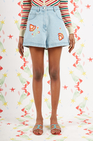 Jean Shorts with Floral Embroidery  image