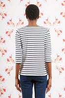 Je m'en fous bespoke marinière with with Navy and white stripes   image