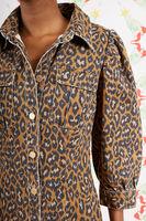 Denim Leopard Print Coat Dress  image