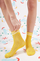 Yellow mid rise socks with white stripes  image