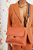 Leather Crossbody Bag with Striped Strap  image