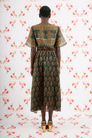Short Sleeved Forest Green Floral Print Dress image