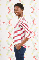 Je m'en fous bespoke marinière with with red and white stripes   image