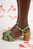 Lime Leather Sandals with Basket Weave Heels  image