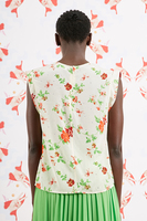 Floral Print Sleeveless Top With Rhinstones  image