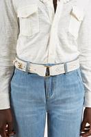 White mid width belt  image