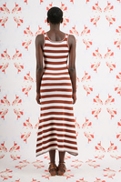 Chocolate and ivory striped knitted dress  image