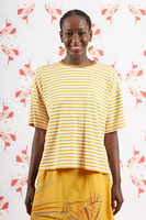 Mustard striped t-shirt with short sleeves  image