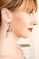 Green parrot earrings image