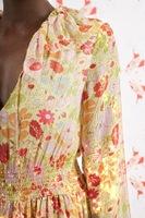 Floral print dress with lurex stripes  image