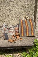 Forest and Saffron Striped Raffia Tote Bag  image