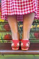 Red Floral Embroidered Loafers  image