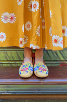 Mustard Floral Embroidered Loafers  image