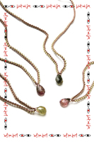 Sage Green Beaded Necklace with Tourmaline Pendant  image