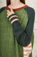 Green colour block cable knit and striped sweater  image