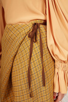 Mustard check wrapped skirt  image