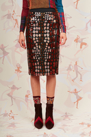 Rust and rose sequin pencil skirt  image