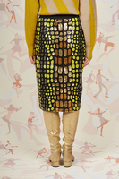 Lemon and gold sequin pencil skirt  image