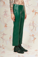 Bottle green cropped faux leather pants  image