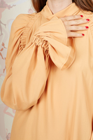 Pale mustard blouse with statement sleeves  image