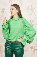 Kelly green blouse with statement sleeves  image