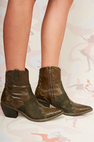 Olive Leather and Suede texan ankle boots  image