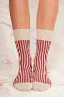 Red and beige striped socks  image