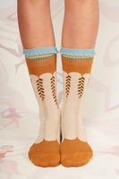 Beige and ochre vine pattern socks  image