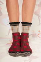 Burgundy and beige polka dot socks  image