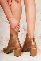 Bronze leather shaped ankle boots  image