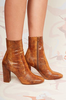 Snakeskin print leather ankle boots  image