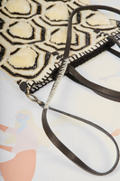 Ivory and black geometric pattern shoulder bag image