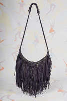 Dark purple leather handbag with fringes  image