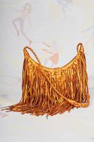 Copper metallic leather handbag with fringes  image