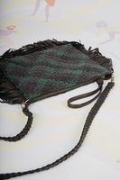 Woven leather crossbody bag with fringes image