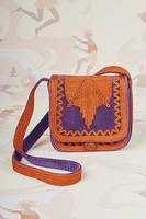 Grape velveteen cord embroidered crossbody bag image