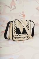 Black velveteen cord embroidered crossbody bag image