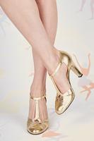 Gold metallic leather t-bar pumps image