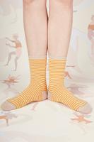 Tangerine and beige striped socks  image