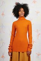 Pumpkin orange long ribbed turtleneck  image