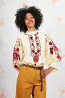 Cream floral embroidered tunic blouse  image