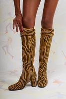 Zebra print over the knee boots image