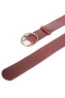 Burgundy round buckle mid width belt  image