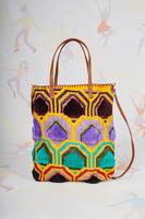Purple and teal geometric pattern shoulder bag image
