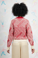 Red geometric striped cropped sweater  image