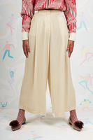 Cream velvet wide leg pants  image