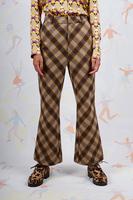 Diagonal flared plaid pants  image